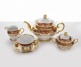 """Сервиз чайный """"Лист красный"""" на 6перс. 15пред."""