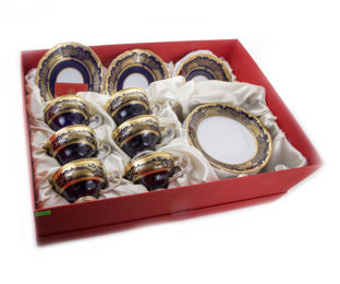 """Подарочный набор десертный для чая 6перс. 18пред. """"Симфония Кобальт"""""""