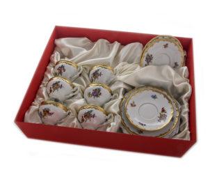 """Подарочный десертный набор для чая 6перс.18пред.""""Мейсенский букет"""""""