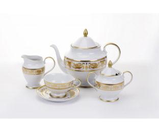 """Сервиз чайный """"Александрия Голд/белый"""" на 6пер. 15пред."""