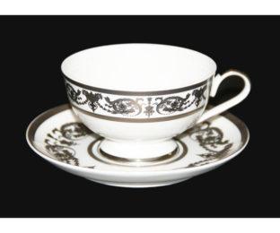 "Набор для чая 200мл.на 6пер. 12 пред. ""Александрия Платин/белый"""