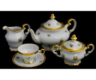 """Сервиз чайный 210мл.на 6перс.21пред.подарочный """"Роза золотая"""""""
