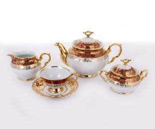 """Сервиз чайный на 6песр.15пред.""""Мария Луиза-Лист красный"""""""