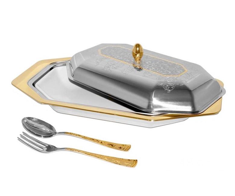 Блюдо для горячего с крышкой и фарфоровой вставкой с вилкой и ложкой  Dubai Gold