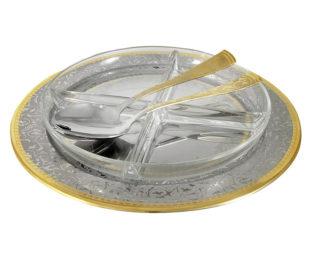 Хрустальная менажница на металлическом подносе с ложкой и вилкой  Dubai Gold