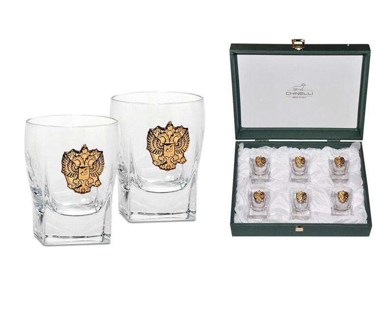 Набор из 6 стопок для водки Россия (золото)