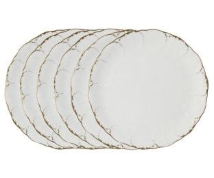 Набор из 6 обеденных тарелок Белый с золотом