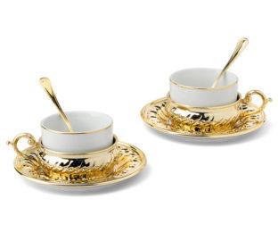 Чайный набор на 2 персоны Stradivari с отделкой под золото в подарочной коробке