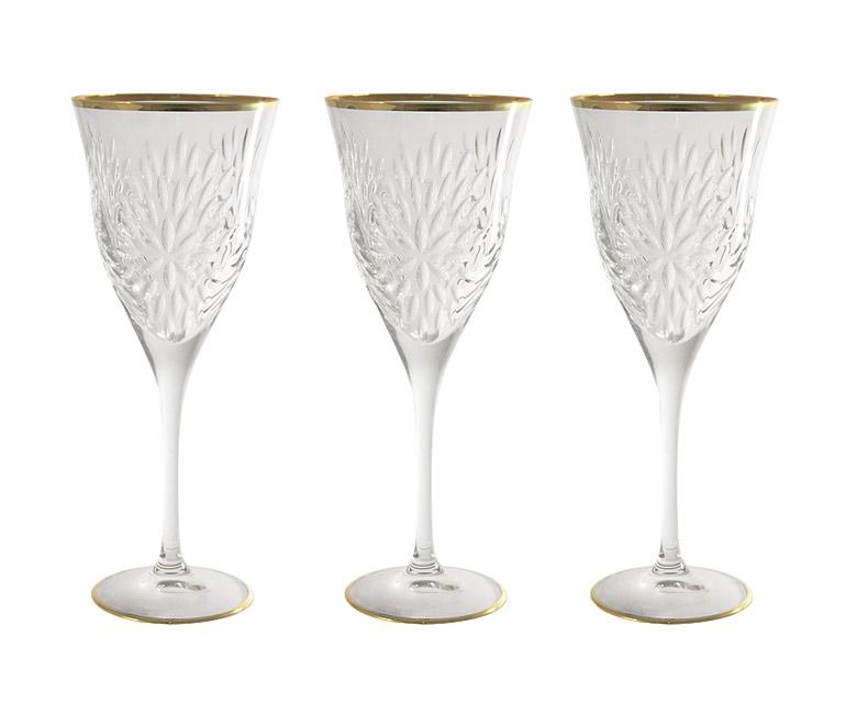 Набор: 6 хрустальных бокалов для вина Умбрия - золото