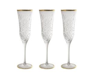 Набор: 6 хрустальных бокалов для шампанского Умбрия - золото