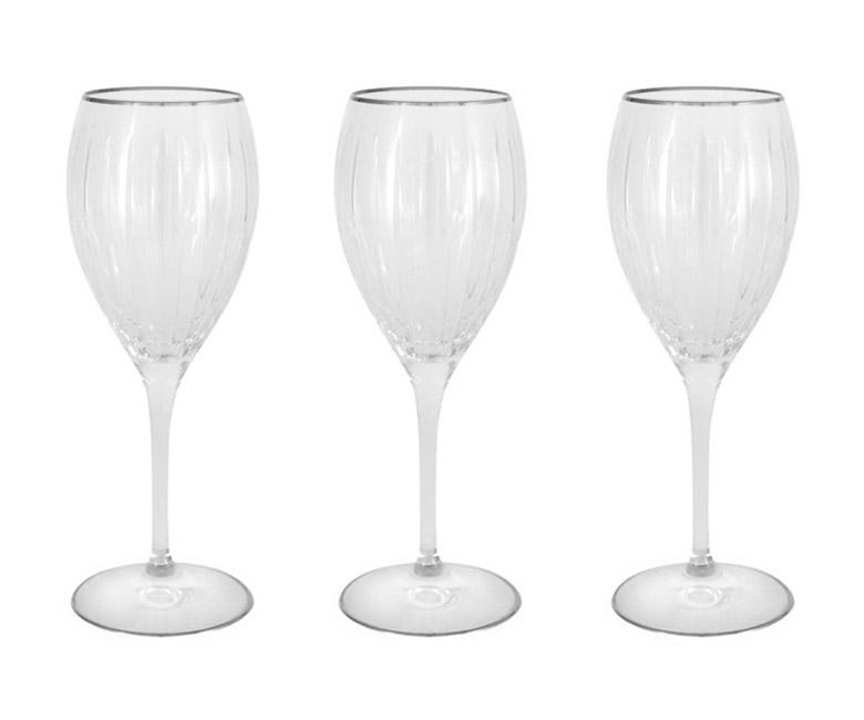 Набор: 6 хрустальных бокалов для вина Пиза серебро