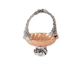 Конфетница с ручкой Маргарита с отделкой под розовое золото