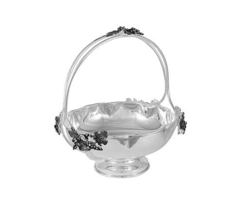 Конфетница с ручкой с отделкой под серебро