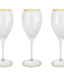 Набор: 6 хрустальных бокалов для вина Пиза золото