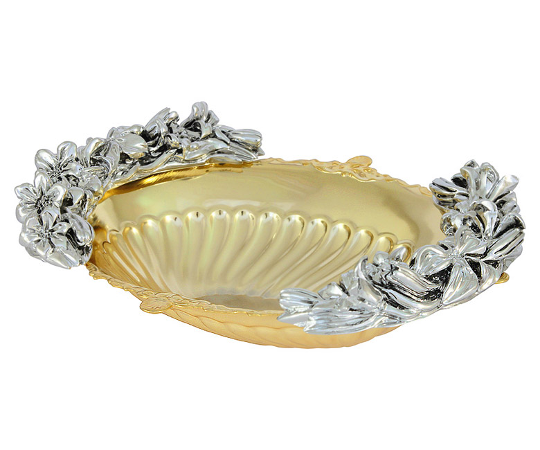 Ваза овальная с отделкой под золото/серебро
