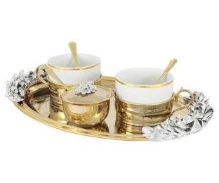 Чайный набор на 2 персоны: поднос, 2 чашки, 2 ложки, сахарница с ложкой