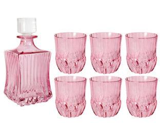 Набор для виски: штоф + 6 стаканов Адажио - розовая