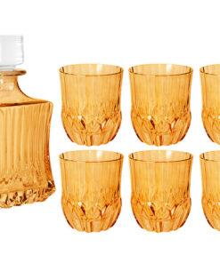 Набор для виски: штоф  + 6 стаканов Адажио - янтарная