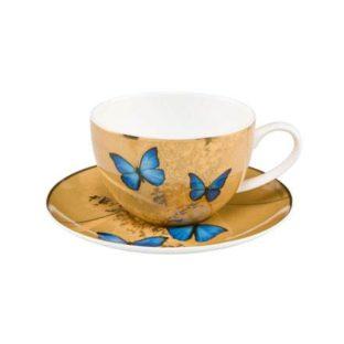 """Чайная чашка с блюдцем """"Лазурные бабочки"""""""