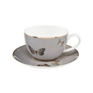 """Чайная чашка с блюдцем """"Серые бабочки"""""""