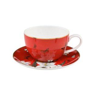 """Чайная чашка с блюдцем """"Лилии на красном"""""""