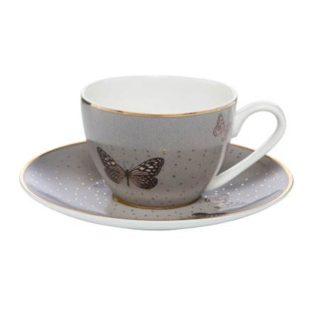 """Набор для кофе чашка демитассе 100 мл с блюдцем """"Серые бабочки"""""""