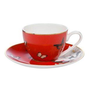 """Набор для кофе чашка демитассе 100 мл с блюдцем """"Лилии на красном"""""""