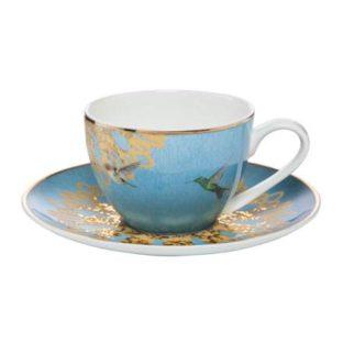 """Набор для кофе чашка демитассе 100 мл с блюдцем """"Лазурные бабочки"""""""