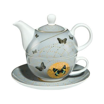 """Набор чайник-чашка """"Серые бабочки"""" 350 мл"""