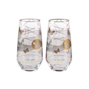 """Набор из 2 стаканов для воды """"Бабочки"""" 200мл"""