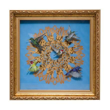 """Настенная картина из стекла """"Спирограф"""" с золотым декором. Лимированный выпуск 999 шт, подтвержден сертификатом"""