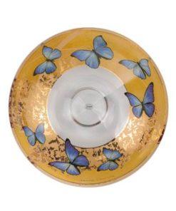 "Стеклянная чаша ""Лазурные бабочки"" 35,5 см"