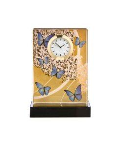 """Стеклянные настольные часы """"Лазурные бабочки"""" с золотым покрытием"""