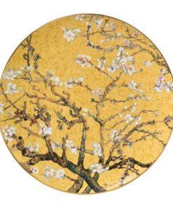 """Декоративная фарфоровая настенная тарелка """"Цветущие ветки миндаля""""на золотом фоне. Декорирована золотом, лимитированный выпуск 1000 шт, подтвержден сертификатом"""
