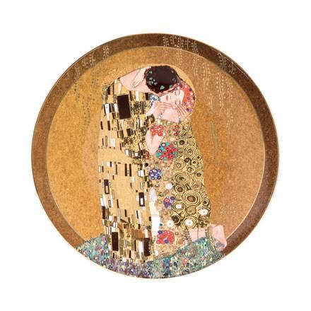 """Декоративная фарфоровая настенная тарелка """"Поцелуй""""на золотом фоне. Декорирована золотом, лимитированный выпуск 999 шт, подтвержден сертификатом"""