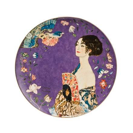 """Декоративная фарфоровая настенная тарелка """"Дама с веером"""",  декорирована золотом.  Лимитированный выпуск 999 шт, подтвержден сертификатом"""