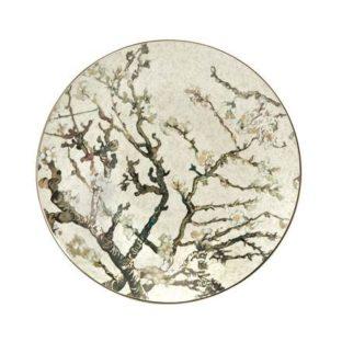 """Декоративная фарфоровая настенная тарелка """"Цветущие ветки миндаля""""на серебряном фоне"""