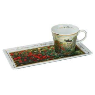 """Подарочный  кофейный набор чашка, блюдо """"Дом художника"""", фарфор, декорированный 22-каратным золотом, лимитированный выпуск 5000 шт"""