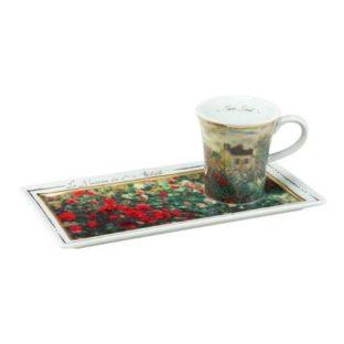 """Подарочный  набор чашка демитассе, блюдо """"Дом художника"""", фарфор, декорированный 22-каратным золотом, лимитированный выпуск 5000 шт"""