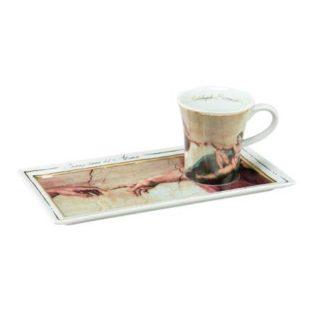 """Подарочный  набор чашка демитассе, блюдо """"Сотворение Адама"""", фарфор, декорированный 22-каратным золотом, лимитированный выпуск 5000 шт"""
