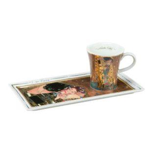 """Подарочный  набор чашка демитассе, блюдо """"Поцелуй"""", фарфор, декорированный 22-каратным золотом, лимитированный выпуск 5000 шт"""