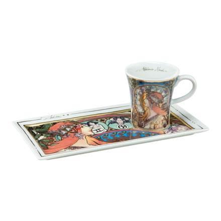 """Подарочный  набор чашка демитассе, блюдо """"Зодиак"""", фарфор, декорированный 22-каратным золотом, лимитированный выпуск 5000 шт"""