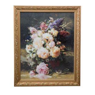 """Картина на фарфоре """"Натюрморт с розами"""", декорирована золотом. Лимитированный выпуск 999 шт., подтвержден сертификатом"""
