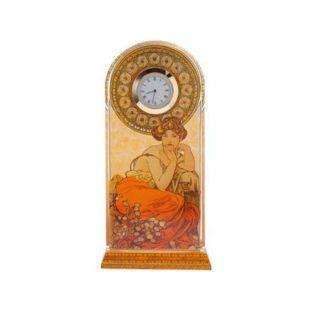 """Стеклянные настольные часы """"Топаз"""", декорированы золотом"""