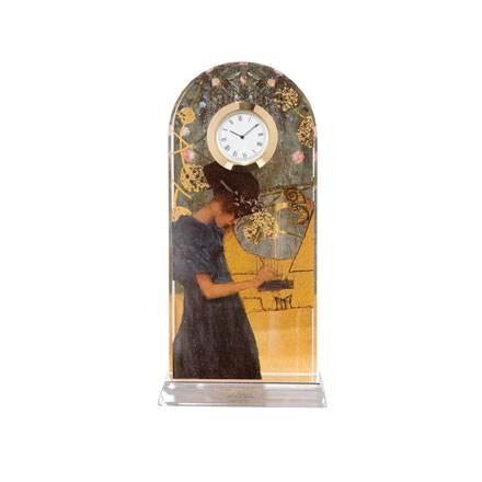 """Стеклянные настольные часы """"Музыка"""", декорированы золотом"""