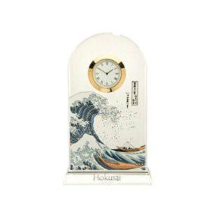 """Стеклянные настольные часы """"Большая волна"""", декорированы золотом"""