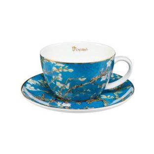 """Набор фарфоровый чайный чашка 250 мл и блюдце """"Цветущие ветки миндаля"""""""