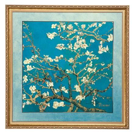 """Картина на фарфоре """"Цветущие ветки миндаля"""", декорирована золотом. Лимитированный выпуск 999 шт., подтвержден сертификатом"""