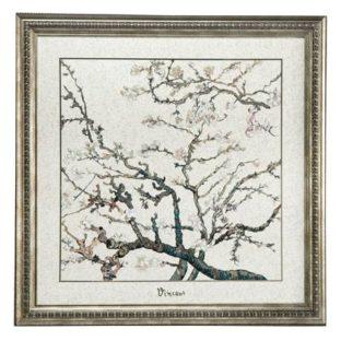 """Картина на фарфоре """"Цветущие ветки миндаля""""цвет фона серебряный, декорирована серебром. Лимитированный выпуск 999 шт., подтвержден сертификатом"""