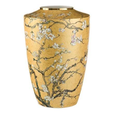 """Фарфоровая ваза """"Цветущие ветки миндаля""""цвет золотой, декорирована золотом. Лимитированный выпуск 999 шт., подтвержден сертификатом"""